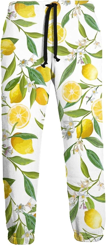 Mens Elastic Waist Sweatpants Floral Lemon Fruits Leaves Joggers Sweatpants for Gym Training Sport Pants