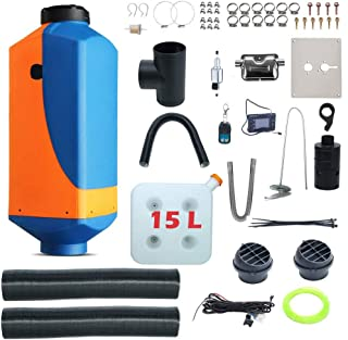 XuSha 5KW 12V Diesel Air Heater 15L Tank Vent Remote Control With LCD Thermostat Monitor(With Batteries) Silencer 2 Duct & 2 Vent for Bus Van Boat Trucks (Orange & Blue)