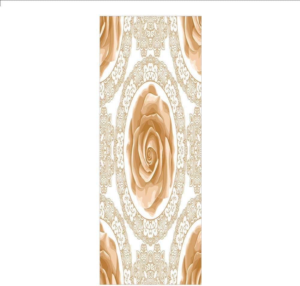3D Decorative Film Privacy Window Film No Glue,Floral,Rose Florets with Classic Golden Lace Authentic Feminine Retro Oriental Motif,Sand Brown White,for Home/&Office