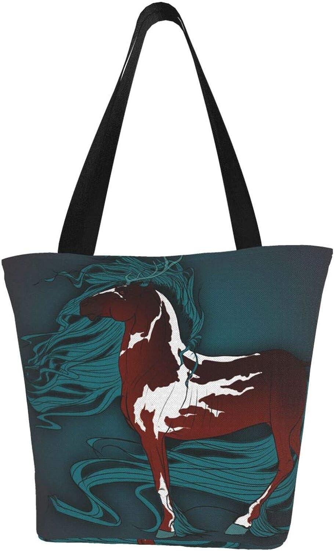 Handsome Brown Stag Horse Art Themed Printed Women Canvas Handbag Zipper Shoulder Bag Work Booksbag Tote Purse Leisure Hobo Bag For Shopping