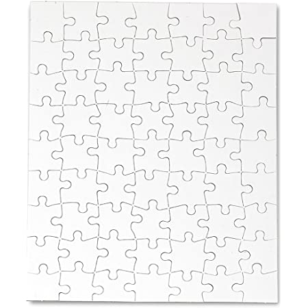 Hygloss Products, Inc Blank Decorating Kids Jigsaw Activity, Use As Party Favors, DIY Invites and More-White, Sturdy – 8.5 x 11 Inches, 63 Pieces, 4 Puzzles with Envelopes