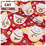 NAKAN Japanese Style Fabric Wrapping Cloth 19x59'' Cotton Fabric by The Half Yard, Sakura Motif Floral Crane Decorative Fabric for Sewing Craft Quilting Upholstery (Color : Cat)