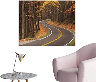 Anzhutwelve Fall Photographic Wallpaper Curvy Roadway Through The Forest Great Smokey Mountains Change of Seasons Traveling Custom Poster Multicolor W48 xL32