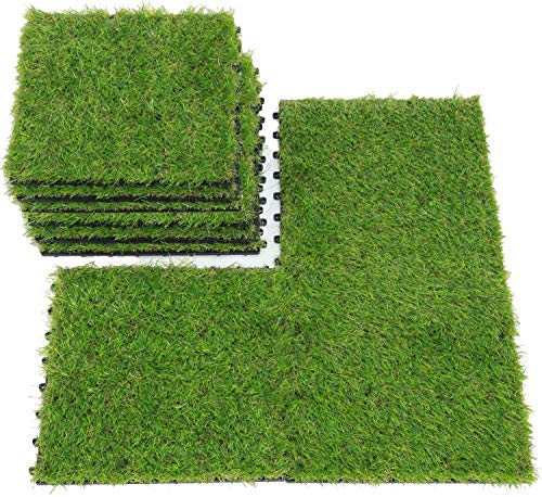 uyoyous Juego de 18 baldosas de terraza, césped artificial, azulejos de césped de plástico, para balcón o terraza, altura: 25 mm, 30 x 30 cm, color verde