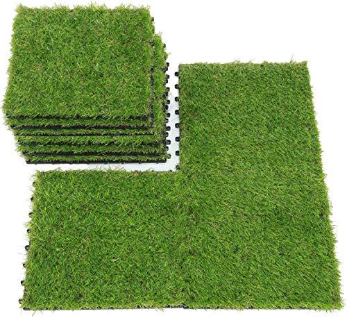 uyoyous 18 Stück Kunstrasen Fliese Grasfliese Terrassenfliesen Set für Balkon oder Terrasse Set 30 x 30 cm in grün