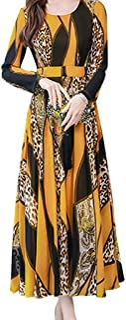 Women O-neck Long Sleeve Party Dress, Ladies Floral Printed Elegant Long Dress