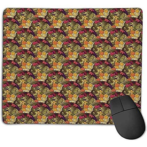 Muismat MousepadEthnic Boheemse Kleurrijke Boeket Kruid Zomer Geïnspireerd Oosters Kunstwerk Olijf Groen Paars Roze muismat