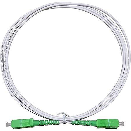 LAZY SPORTS Câble fibre optique SC/APC a SC/APC monomodo simplex 9/125, Operadores Movistar Jazztel Vodafone Orange Amena Masmovil Yoigo (Blanco 1M)