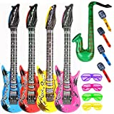 Party Inflatable Rock Star Toy Set,13 Pack, 4 Designs Inflatable Toy Set,4 Electric Guitar,4 Microphones,4 Shutter Shading Glasses and 1 Saxophone,for Concert Theme Party Favors