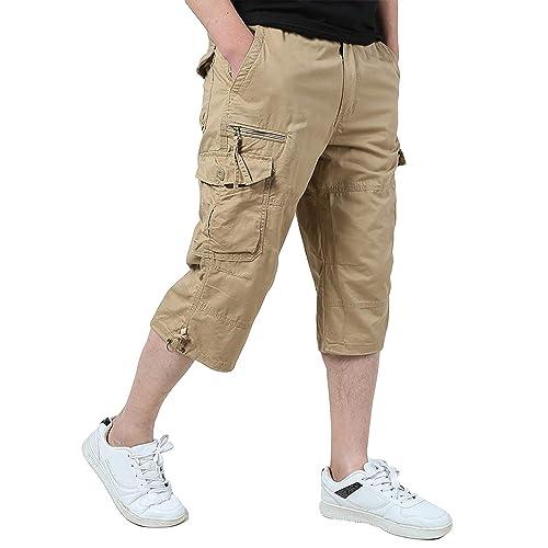 bc540513476 KEFITEVD Men s Casual Twill Elastic 3 4 Cargo Shorts Loose Fit Multi-Pocket  Capri