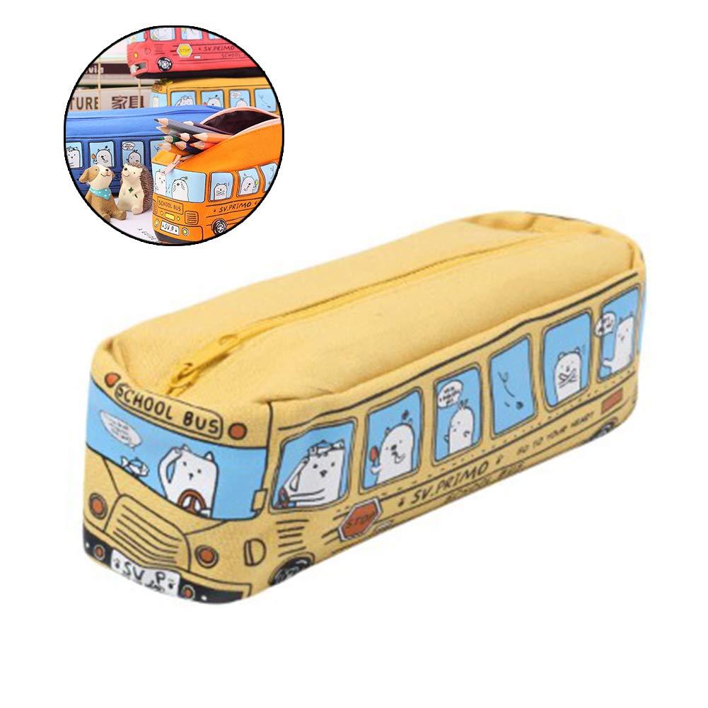 estuche de lona de tela Niños Gatos del autobús escolar lápiz bolsa Stationery Office bolsa: Amazon.es: Oficina y papelería