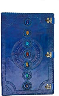 Skyland Seven Chakra Medieval Stone Embossed Handmade Jumbo Leather Journal Book of Shadows Notebook Office Diary College ...