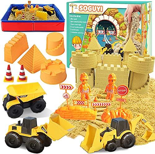 SOGUYI Magic Sand 1350g Zaubersand mit Faltbarem Sandkasten für Kinder 3, 4, 5 Jahre