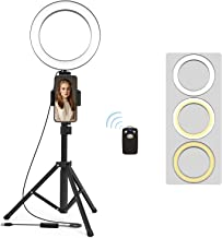 Selfie Ring Light with Tripod Stand and Phone Holder LED Circle Lights Halo Lighting for Photo Photography Vlogging Make Up Video