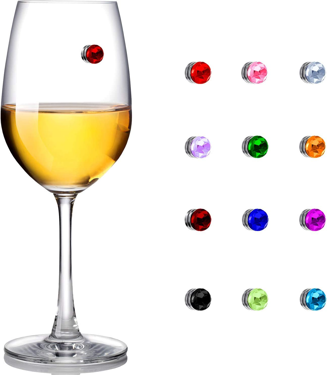 12 Pieces free Colorful Crystal Magnetic Wine 2021 model Glass Cha Drink Markers