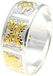 Arthur's Jewelry Sterling Silver 925 Hawaiian 2 Tone Yellow Gold Plated Honu Turtle Quilt 8mm Band Ring Size 3 to 14
