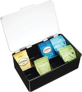 mDesign boîte à thé avec Couvercle – boîte de Rangement Plastique pour Stocker Le thé, Les dosettes de café, etc. – Access...