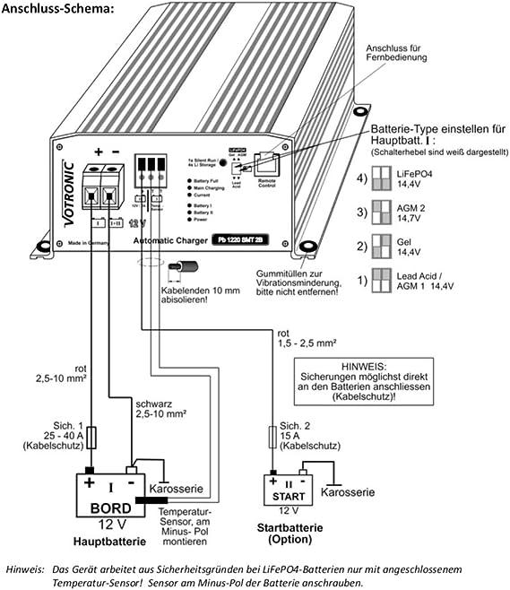 Fernbed inkl Votronic PB 1215 SMT 2B Neue Serie f Blei-und Lithiumbatt S