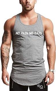 Hombre Chaleco NO Pain NO Gain Fitness Sport Chaleco Loose Transpirable Absorción del Sudor Camisetas Sin Mangas