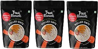 True Elements Gluten Free Rolled Oats 3kg (1kg * 3) - Fibre Rich, Breakfast Cereal, Old Fashioned Oats Rolled