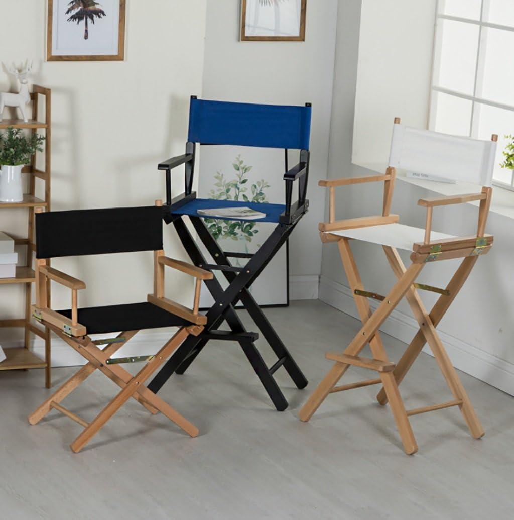 XUEYAN Chaise en Bois Massif Directeur en Plein air Chaise Pliante Portable Maquillage Haut Tabouret Chaise de Plage de Loisirs (Couleur : Bleu) Blanc
