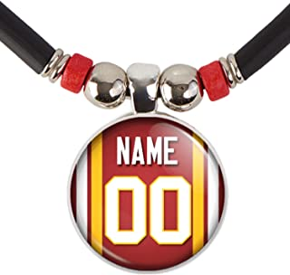 SpotlightJewels Personalized Football Jersey Necklace. Football Charm/Pendant Customized with Name and Number. Unisex Foot...