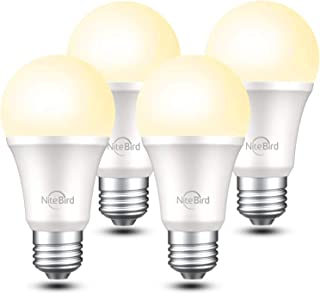 لامپ هوشمند سازگار با الکسا Google Home ، لامپ های LED NiteBird A19 E26 Wifi Dimmable Warm White 2700K LED ، معادل 75 وات ، بدون توپی ، 4 بسته
