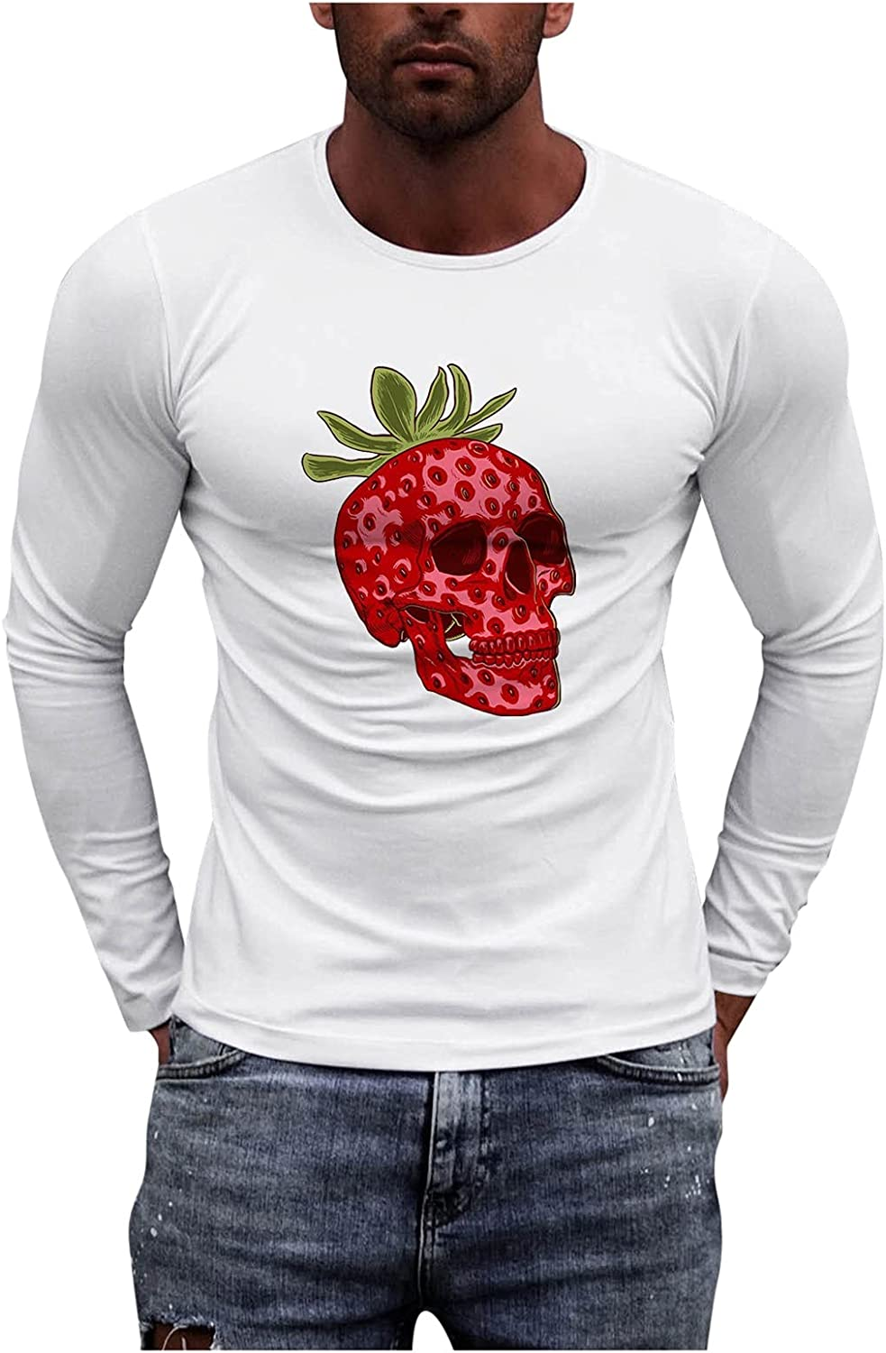 XXBR Long Sleeve T-shirts for Mens, Fall Graphic Printed Athletic Muscle Workout Sports Basic White Tee Casual Tops