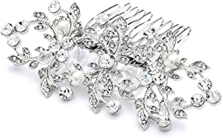 Mariell Vintage Floral Pearl and Crystal Bridal Hair Comb for Weddings or Prom