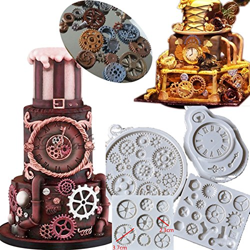 Anyana Steampunk Cogs wheel Gears Pocket Clock watch candy moulds silicone fondant molds for cake decorating supplies cupcake topper decoration sugarcraft set of 4