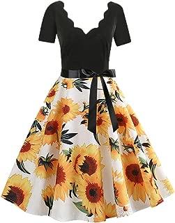 Women's Sunflower Dresses, QIQIU Vintage V-Neck Evening Short Sleeve Fashion Party Midi Dress