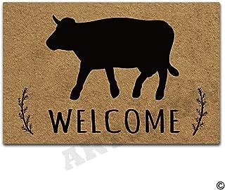 Artswow Welcome Door Mat Cow Welcome Funny Doormat Entrance Floor Mat with Non-Slip Rubber Backing Door Mat, 30 by 18 Inch