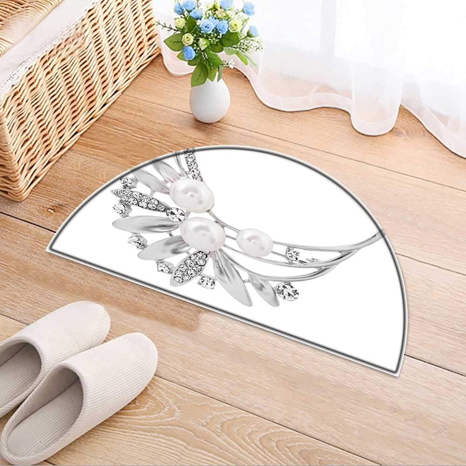 Kitchen Rugs Floor mats Silver Brooch Isolated with Pearls on White Background Waterproof Semi-Circular Door Mat Floor Mats W47 x H32 INCH