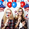 4th of July Decorations,67pcs Patriotic Party Decorations Set include Hanging Paper Fans,4th of July Banner,Latex Balloons Set,Foil Balloons and Photo Booth Props for Independence Day Memorial Day #4