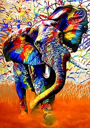 Rompecabezas 1000 Piezas Adultos De Madera Niño Puzzle-Elefante Colorido-Juego Casual De Arte Diy Juguetes Regalo Interesantes Amigo Familiar Adecuado