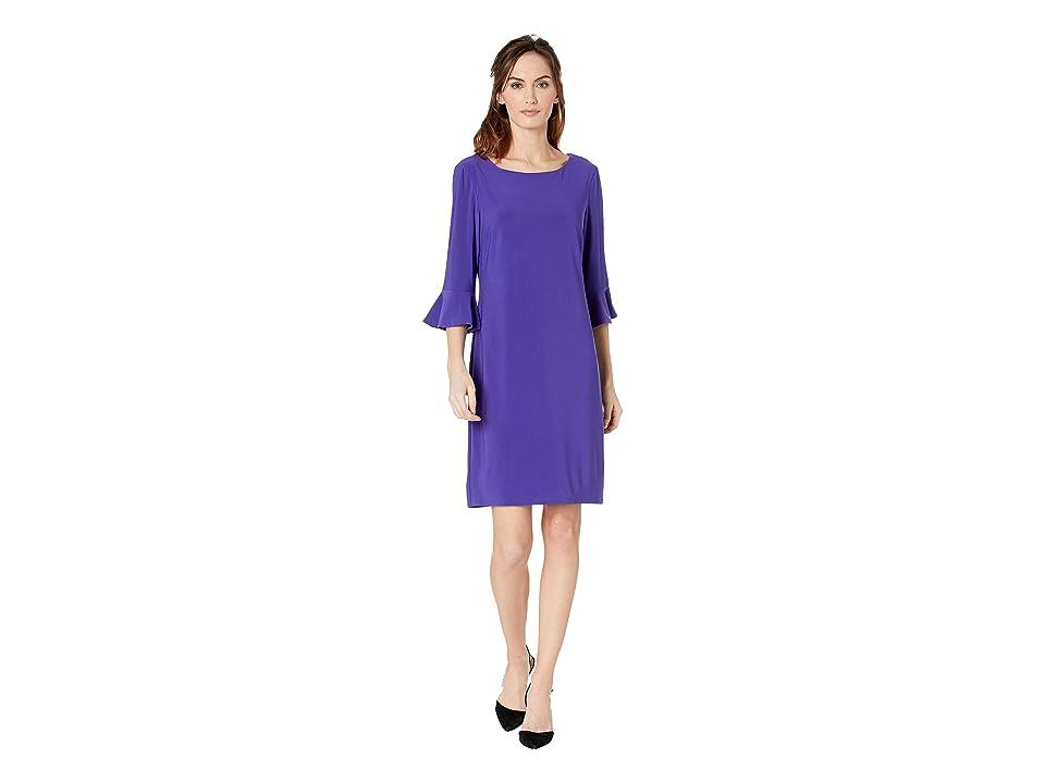 Nine West Ity 3/4 Ruffle Sleeve Sheath Dress (Ultra Violet) Women
