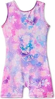 Leotards for Gymnastics for Girls with Shorts Butterfly Unicorn Mermaid Dance Unitards Biketards Hotpink Black