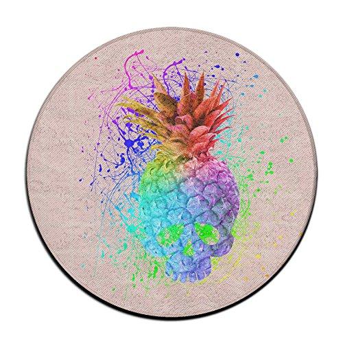 Rainbow Splash Tête de Mort Ananas antidérapant Tapis Circulaire Tapis de Moquette Salle à Manger Chambre à Coucher Tapis Tapis de Sol 59,9 cm