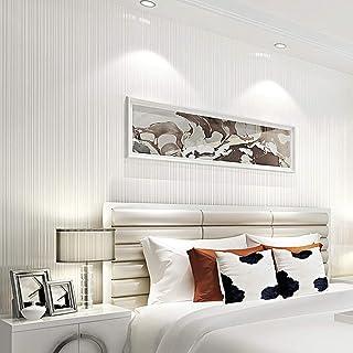 ASDBIZHI Papel Pintado Autoadhesivo A Rayas 3D Impermeable Pvc Color Sólido Cocina Sala De Estar Estudio Dormitorio Pegatinas Pared De Fondo De Tv Decoración Oficina 0.53 * 5M 7072 Plata Blanco