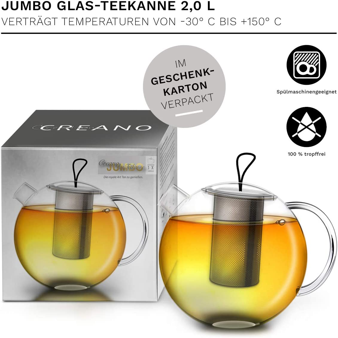 Tetera de Vidrio en 3 Piezas en un Juego de Tetera con Filtro Integrado de Acero Inoxidable y Tapa de Vidrio 1,0L Creano Tetera Jumbo