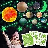 Pegatinas de Pared Resplandor del Sistema Solar, TANOSAN Brillante Luna Estrellas y Planetas Pegatina de Pared Luminoso Fluorescentes para Dormitorio de Niños, Luna Estrellas Adhesivos Decorativo