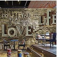 カスタム3D写真壁紙ヴィンテージノスタルジックエンボス英語アルファベットレンガ壁壁画レストランリビングルームの装飾壁紙
