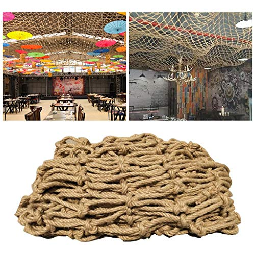 Safety Protection Hemp Rope Net Net for Industrial Wind Decoration,Ceiling Hemp Rope Net,Natural Jute Material Hand-woven,for Bar Cafe Restaurant,12mm/10cm,Multiple Sizes (Size : 1x3m)