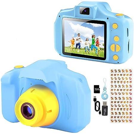 YunLone Macchina Fotografica per Bambini 12MP Selfie Fotocamera Bambino con Scheda 32GB, Custodia, Batteria 1200mAh, Lettore Musicale, Regalo Compleanno per Bambini