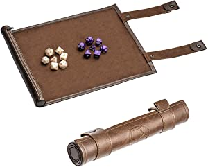 Dice Mat Dice Tray Dice Set for DND Dice, Scroll Dice Tray and Rolling Mat with Zipper Holder, with 2x7 Plastic Polyhedral Dices, All Works with DND D&D Dungeons & Dragons Game (Brown) by PUBGAMER
