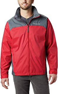 Columbia Men's Big and Tall Glennaker Lake Front-Zip Rain Jacket with Hideaway Hood, Mountain Red/Graphite, 3X