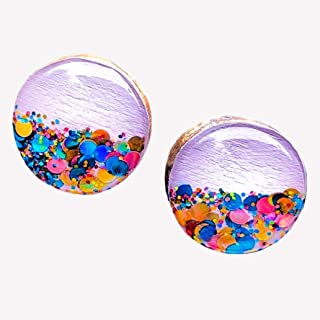 Hand Painted Wood Stud Earrings for Women – 10mm Lavender Purple Earrings with Rose Gold Colorful Glitter