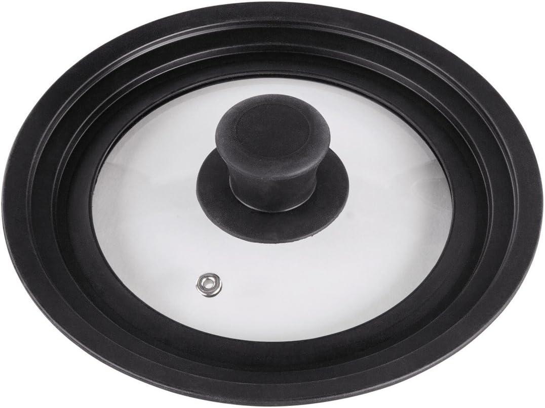 Xavax Tapa Universal con Anillo de Silicona, para ollas y sartenes con 16, 18y 20 cm de diámetro, Orificio para Vapor, Apto para lavavajillas, Ahorra Espacio, de Cristal, 16 x 18 x 20 cm