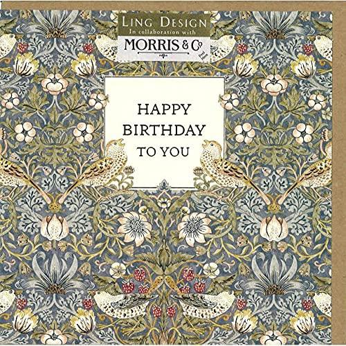グリーティングカード 誕生日/バースデー ウィリアム・モリス「イチゴ泥棒」 鳥 メッセージカード おしゃれ ギフト 輸入雑貨