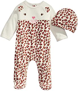 d127fab9 First Impressions Infant Girls 2 PC Plush Leopard Jumpsuit Sleeper & Hat  Outfit